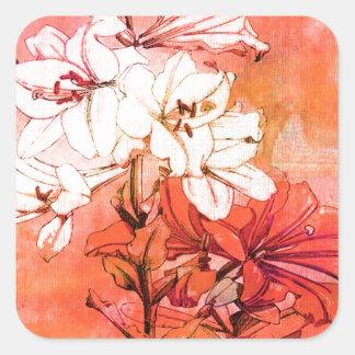 Oranje BloemenPatroon Vierkante Sticker