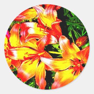 Oranje bloemenStickers Ronde Stickers