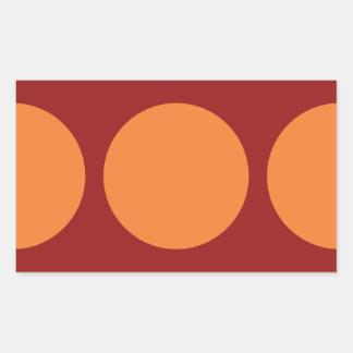 Oranje Cirkels op Rood Rechthoek Sticker