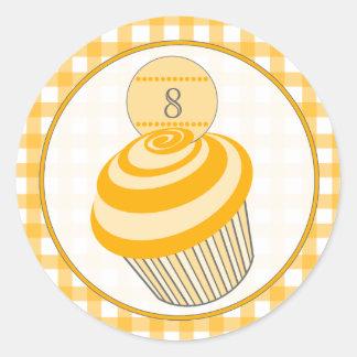 Oranje Cupcake/de Oranje Sticker van de Verjaardag