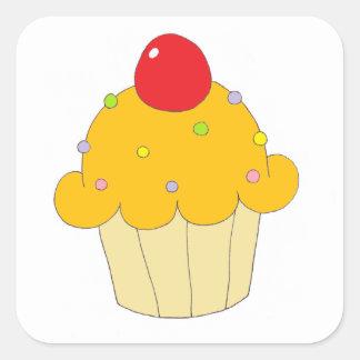 Oranje Cupcake Vierkante Sticker