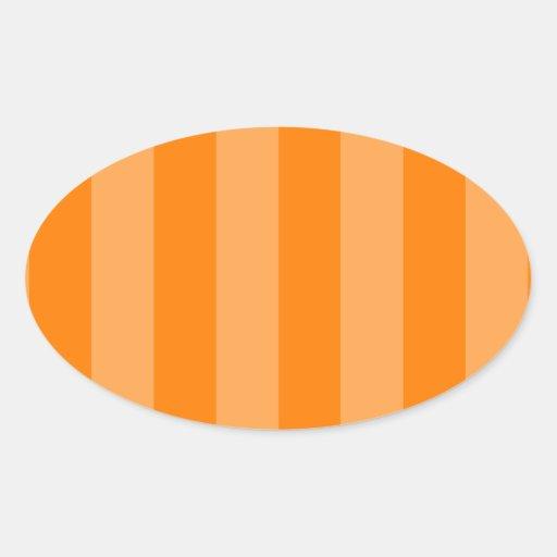 Oranje en Donkeroranje strepen - Ovaalvormige Stickers