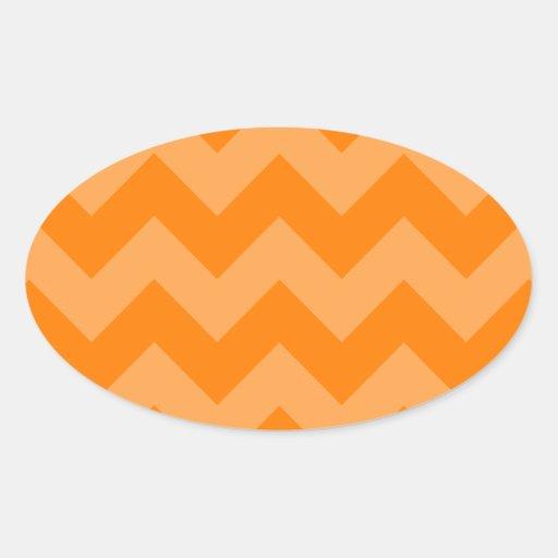 Oranje en Donkeroranje zigzag I - Ovale Sticker