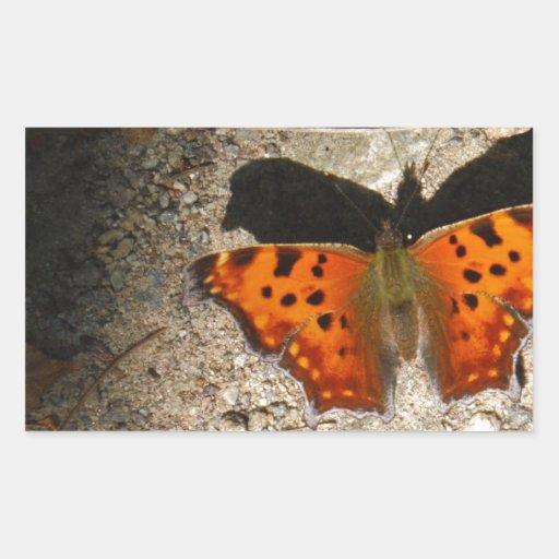 Oranje en groene vlinder rechthoek sticker