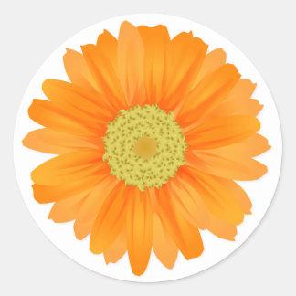 Oranje Gerbera Daisy Floral Sticker/Verbinding Ronde Stickers