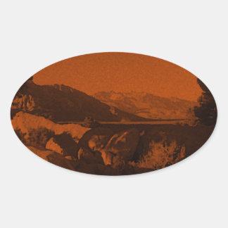 Oranje Gloed Ovale Sticker