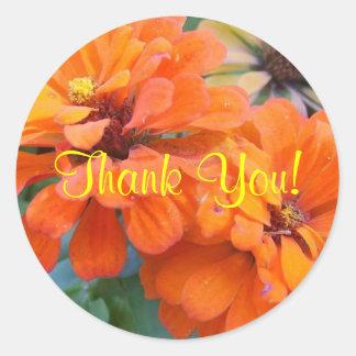 Oranje Goudsbloemen Ronde Stickers
