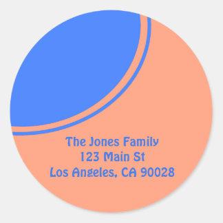 Oranje helder blauw mod.ontwerp ronde stickers
