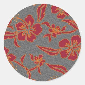 Oranje hibiscus ronde sticker