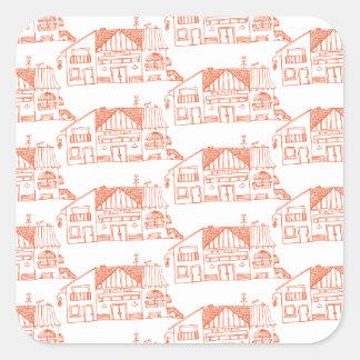 Oranje huizen vierkant sticker