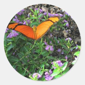 Oranje Julia Butterfly Card Ronde Stickers