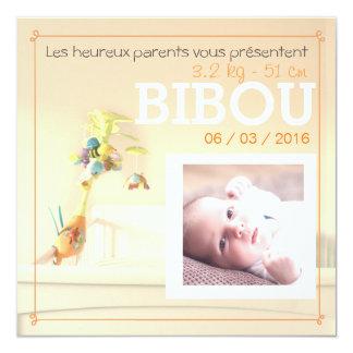Oranje kamer ⎮ Kennisgeving van geboorte 13,3x13,3 Vierkante Uitnodiging Kaart