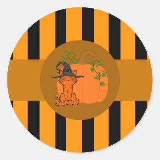 Oranje Kat met Pompoen & Oranje Strepen Ronde Sticker