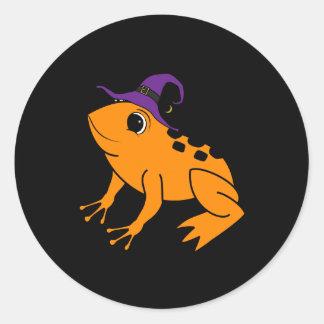 Oranje Kikker met de Charme van het Pet & van de Ronde Stickers