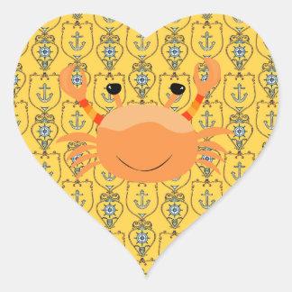 Oranje Krab op de ZeevaartSticker van het Hart van Hartvormige Stickers