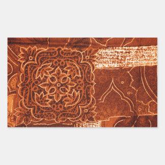 oranje lapwerkstof rechthoekige sticker