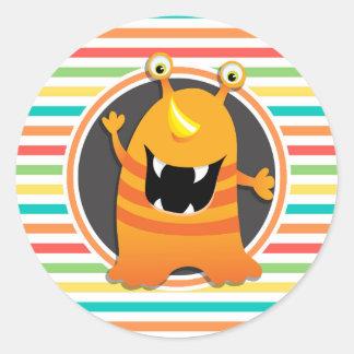 Oranje Monster De heldere Strepen van de Ronde Sticker