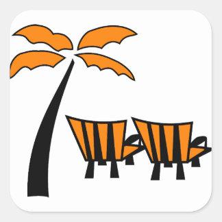 Oranje Palm met de Vierkante Sticker van Oranje