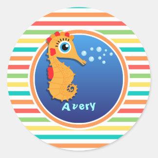 Oranje Seahorse De heldere Strepen van de Ronde Stickers
