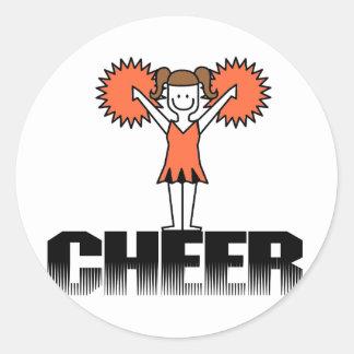 Oranje T-shirts Cheerleading en Giften Ronde Stickers
