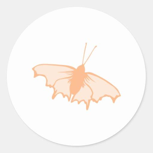 Oranje Vlinder Ronde Stickers
