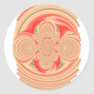 Oranje wervelingsontwerp ronde sticker