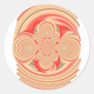 Oranje wervelingsontwerp ronde stickers