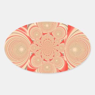 Oranje wervelingsontwerp ovaalvormige stickers