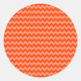Oranje Zigzag Ronde Sticker