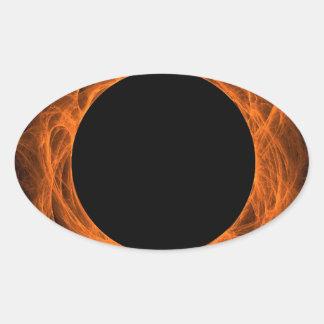 Oranje & Zwarte Fractal Ovale Sticker Als