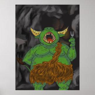 Orc affamé avec une fourchette poster