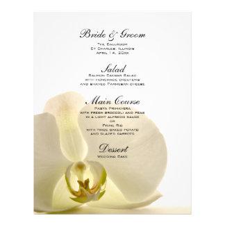 Orchidee op het Witte Menu van het Huwelijk Folder
