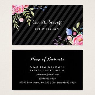 Organisateur floral de rayures de pivoines roses cartes de visite