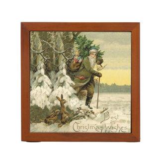 Organiseur De Bureau Arbre de Noël vintage de Père Noël victorien