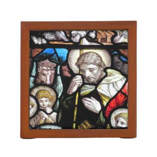 Organiseur De Bureau Art en verre souillé de berger de Jésus