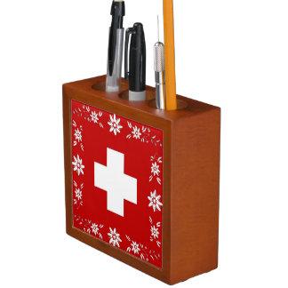 Organiseur De Bureau Drapeau et edelweiss suisses