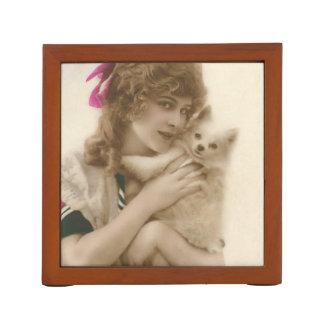Organiseur De Bureau Femme victorienne et chien de photo antique