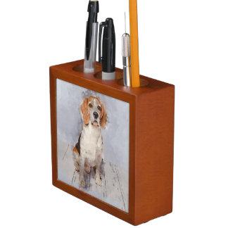 Organiseur De Bureau Portrait mignon d'aquarelle de beagle