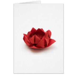 Origami rouge de lotus carte