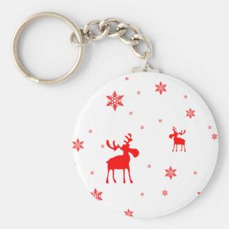 Orignaux rouges et flocons de neige rouges - porte porte-clés