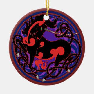 Ornement 2014 en céramique de licorne rouge/noir