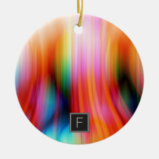 Ornement abstrait strié coloré du monogramme |
