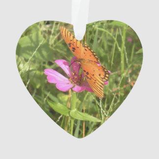 Ornement acrylique de coeur de Zinnia et de