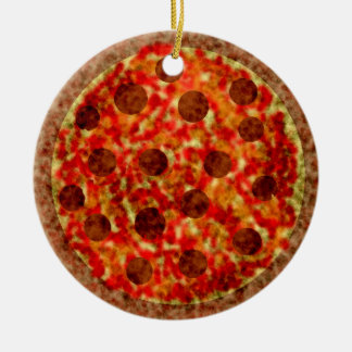 Ornement Rond En Céramique Ornement américain italien drôle de Noël de pizza
