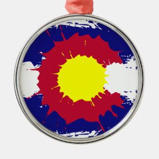 Artistic Colorado flag paint splatter ornament