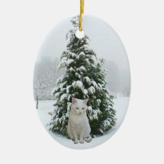 Ornement blanc de Noël de Kitty