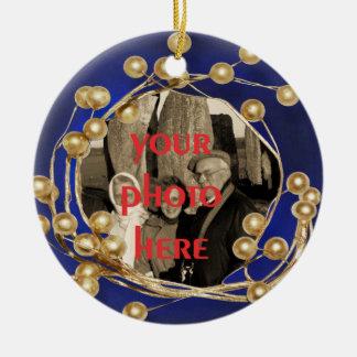 Ornement Rond En Céramique Ornement bleu de photo de cadre de boule d'or