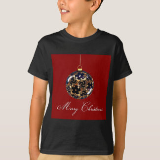 Ornement bleu et rouge de babiole de Noël T-shirt
