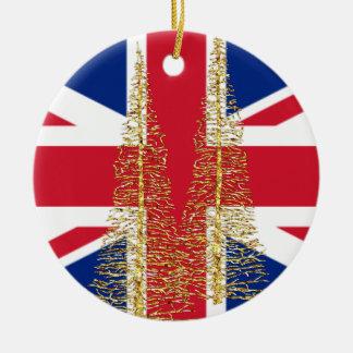 Ornement Rond En Céramique Ornement britannique anglais de Noël de drapeau de