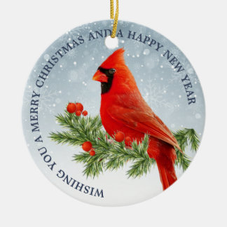 Ornement cardinal rouge de Joyeux Noël d'oiseau